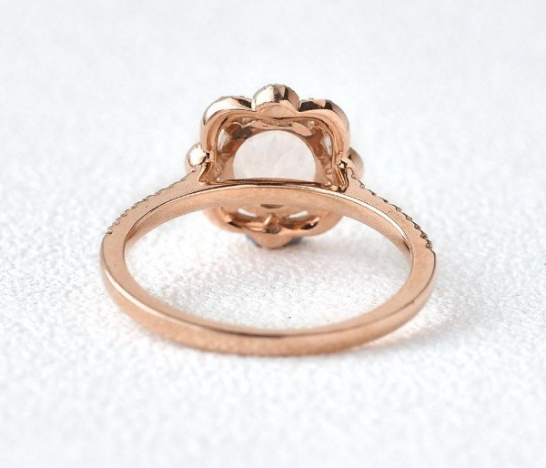 Round Pink Morganite Antique Art Deco Ring - Rose - Back