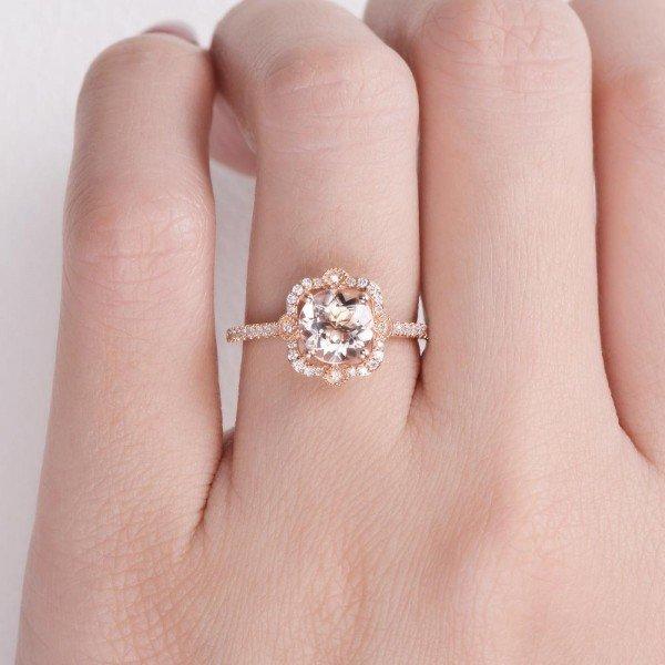 Round Pink Morganite Antique Art Deco Ring - Rose - Finger