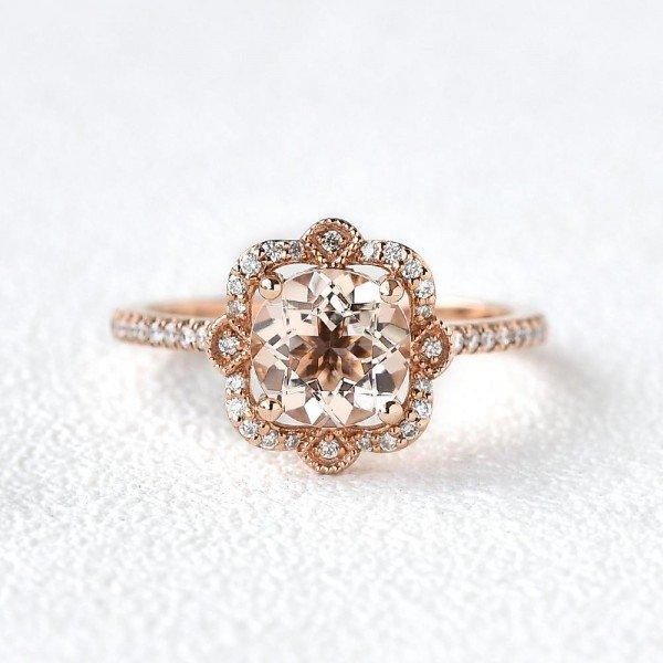 Round Pink Morganite Antique Art Deco Ring - Rose - Front