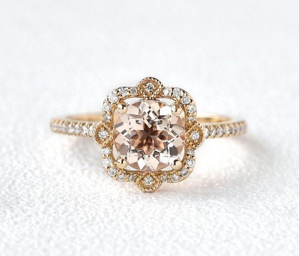 Round Pink Morganite Antique Art Deco Ring - Yellow - Front