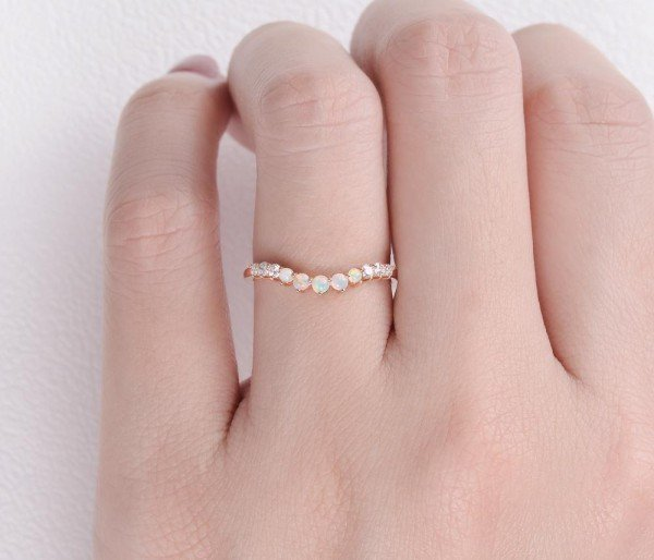 Round Opal Classic Tiara Band - Finger