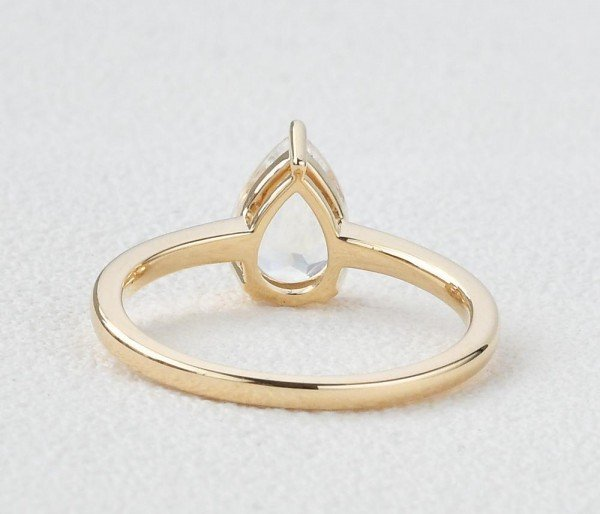 Pear Shaped Blue Moonstone Solitaire Ring - Yellow - Back