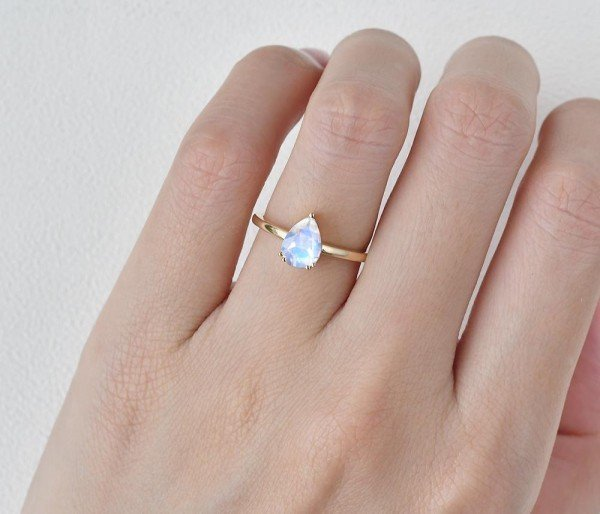 Pear Shaped Blue Moonstone Solitaire Ring - Yellow - Finger