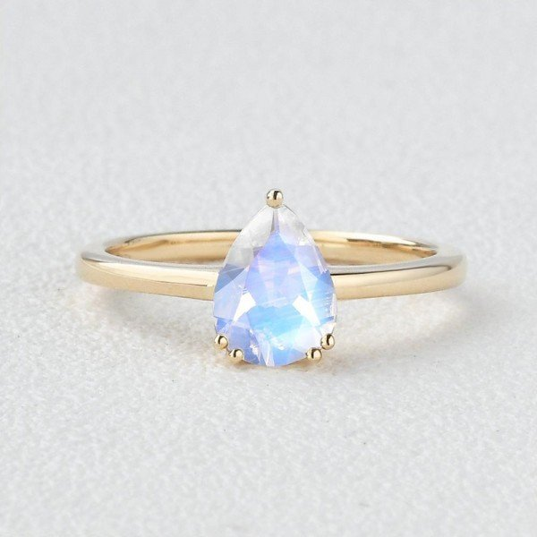 Pear Shaped Blue Moonstone Solitaire Ring - Yellow - Front