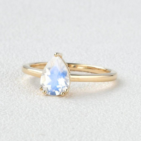 Pear Shaped Blue Moonstone Solitaire Ring - Yellow - Side