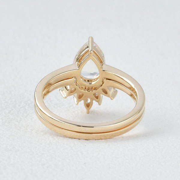 Pear Shaped Blue Moonstone Tribal Solitaire Ring Set - Yellow - Back
