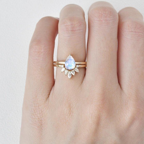 Pear Shaped Blue Moonstone Tribal Solitaire Ring Set - Yellow - Finger