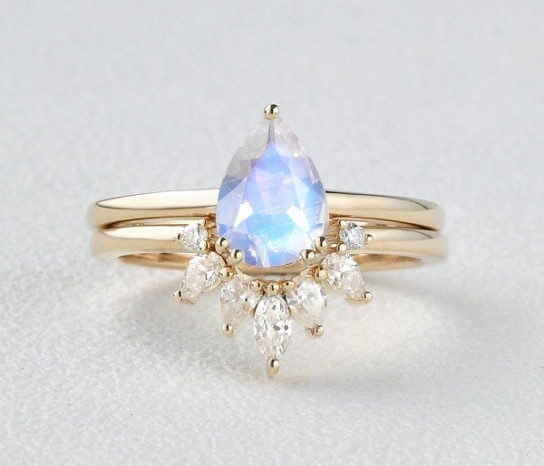 Pear Shaped Blue Moonstone Tribal Solitaire Ring Set - Yellow - Front
