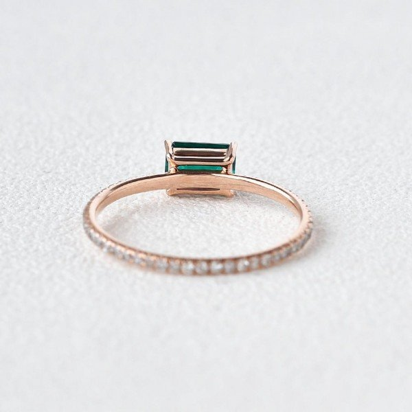 Emerald Cut Green Lab Emerald Eternity Ring - Back