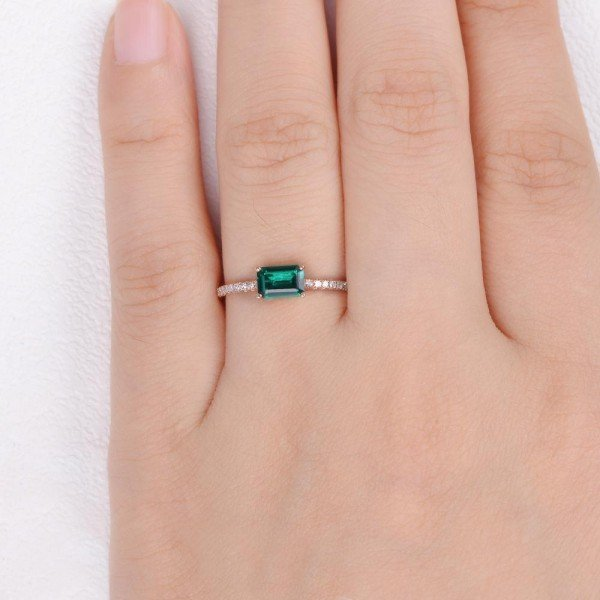 Emerald Cut Green Lab Emerald Eternity Ring - Finger