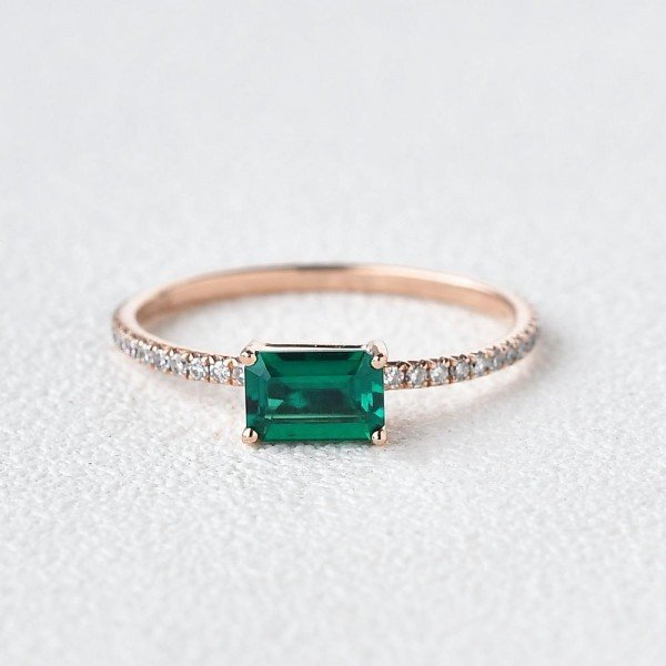 Emerald Cut Green Lab Emerald Eternity Ring - Front