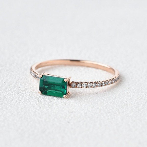 Emerald Cut Green Lab Emerald Eternity Ring - Side