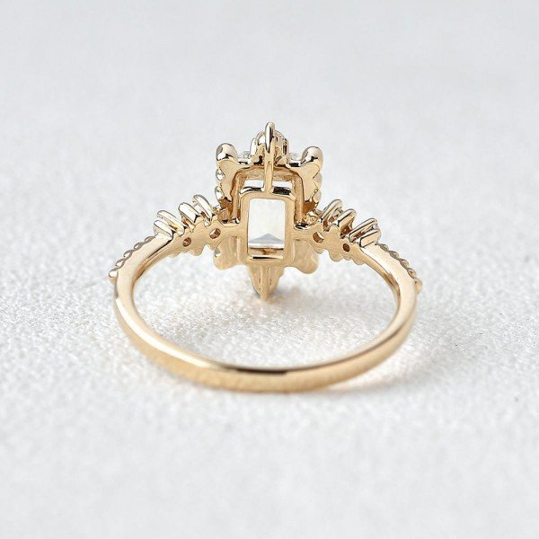 Emerald Cut Moonstone Beaded Art Deco Ring - Back