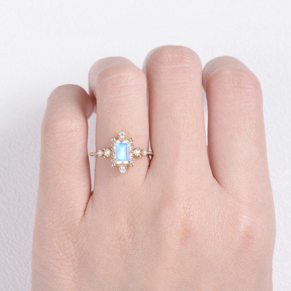 Emerald Cut Moonstone Beaded Art Deco Ring - Finger