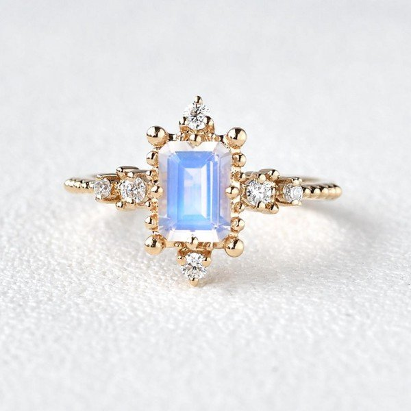 Emerald Cut Moonstone Beaded Art Deco Ring - Front