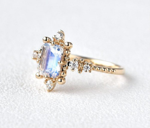 Emerald Cut Moonstone Beaded Art Deco Ring - Side