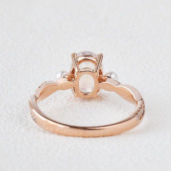 Oval Shaped Moonstone Trinity Twist Ring - Back