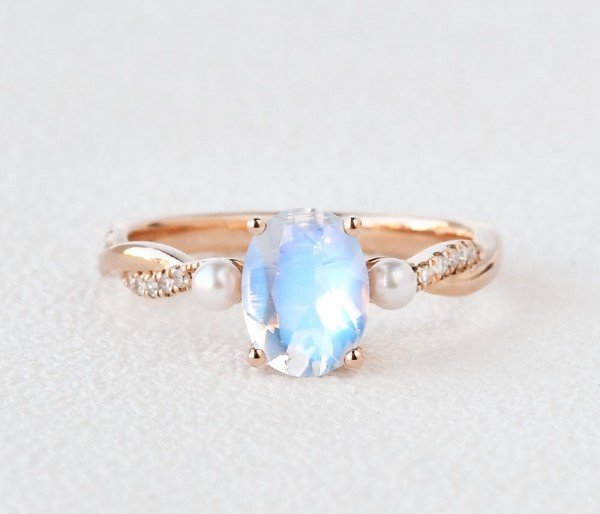 Oval Shaped Moonstone Trinity Twist Ring - Front