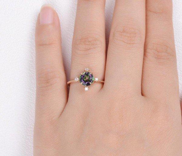 Round Mystic Topaz Crown Beaded Ring - Rose - Finger