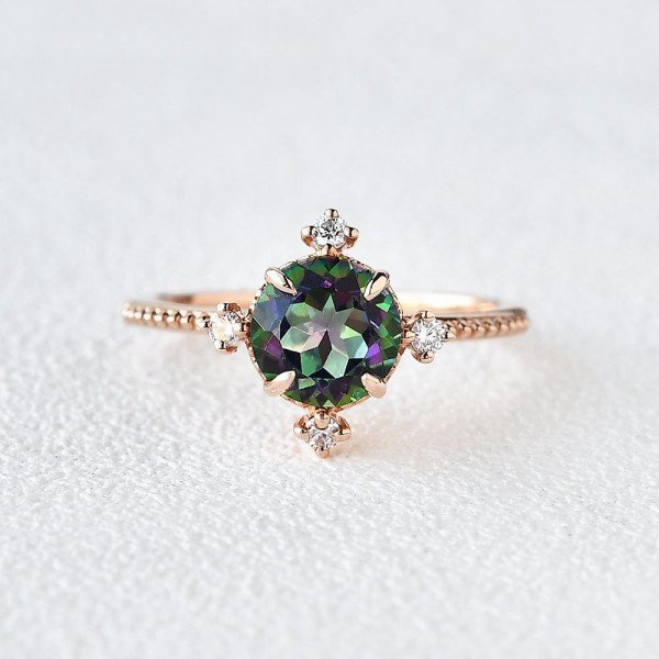 Round Mystic Topaz Crown Beaded Ring - Rose - Front