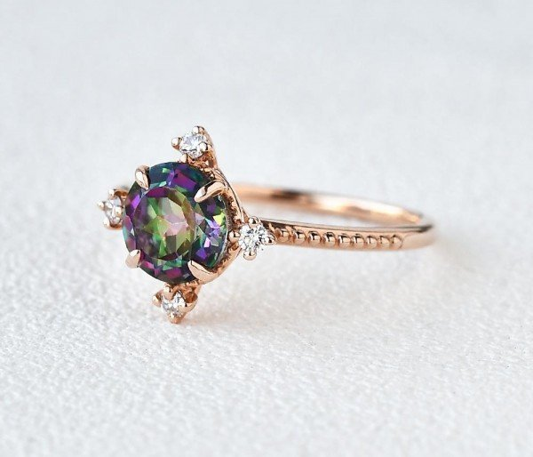 Round Mystic Topaz Crown Beaded Ring - Rose - Side