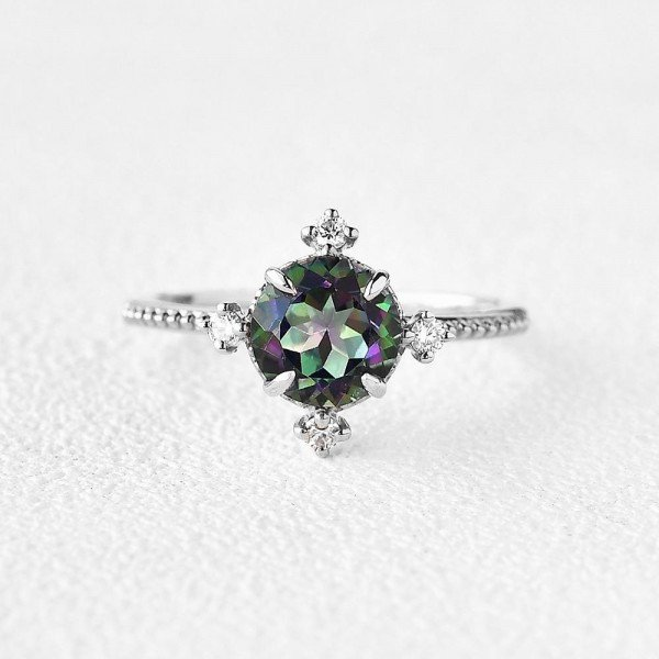 Round Mystic Topaz Crown Beaded Ring - White - Front