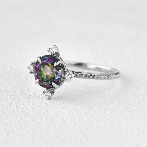 Round Mystic Topaz Crown Beaded Ring - White - Side