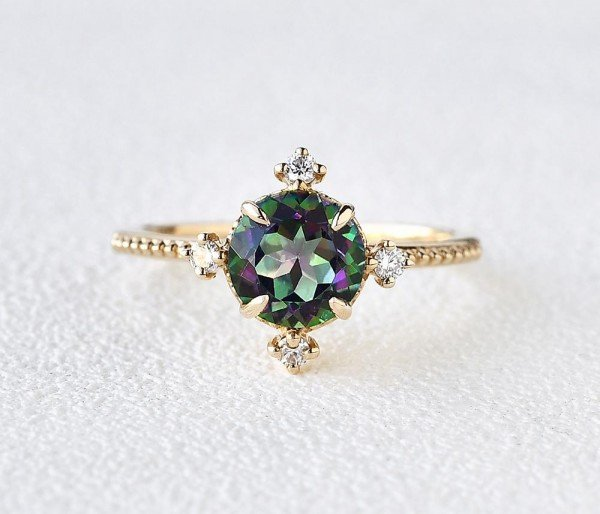 Round Mystic Topaz Crown Beaded Ring - Yellow - Front