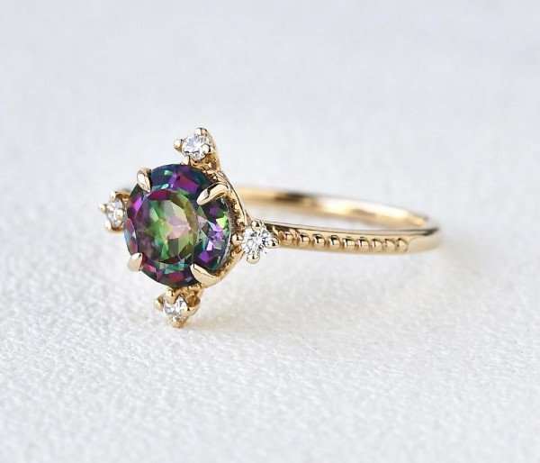 Round Mystic Topaz Crown Beaded Ring - Yellow - Side