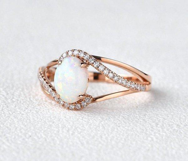 Oval Shaped Opal Eternity Twist Ring - Side