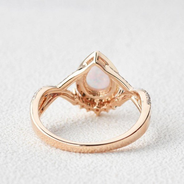 Pear Shaped Lab Opal Halo Twist Pave Ring - Rose - Back