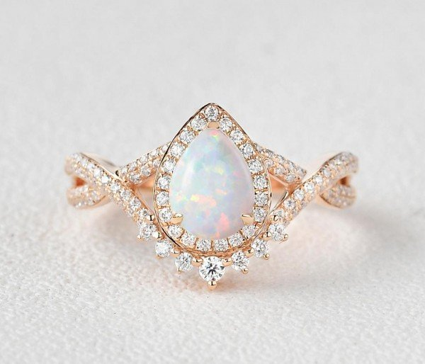 Pear Shaped Lab Opal Halo Twist Pave Ring - Rose - Front