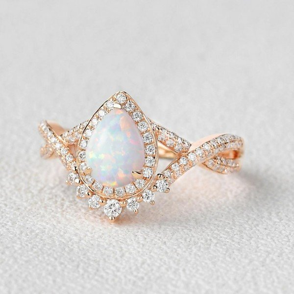 Pear Shaped Lab Opal Halo Twist Pave Ring - Rose - Side
