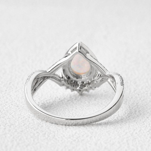Pear Shaped Lab Opal Halo Twist Pave Ring - White - Back