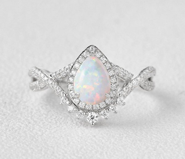 Pear Shaped Lab Opal Halo Twist Pave Ring - White - Front