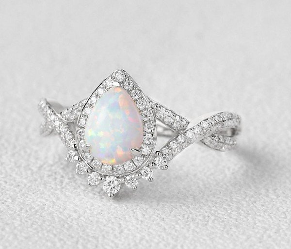 Pear Shaped Lab Opal Halo Twist Pave Ring - White - Side
