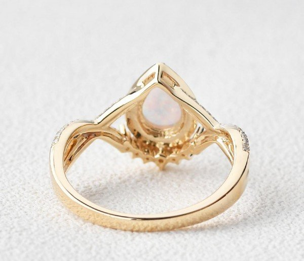Pear Shaped Lab Opal Halo Twist Pave Ring - Yellow - Back