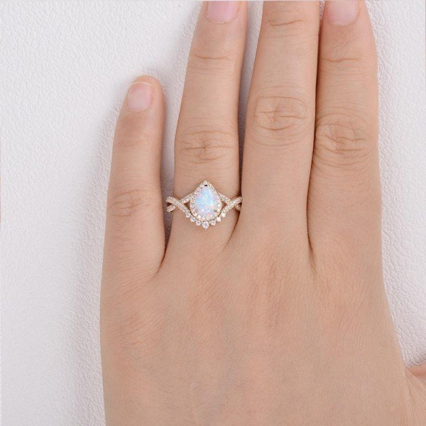 Pear Shaped Lab Opal Halo Twist Pave Ring - Yellow - Finger