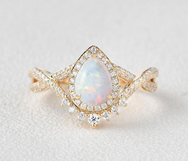 Pear Shaped Lab Opal Halo Twist Pave Ring - Yellow - Front