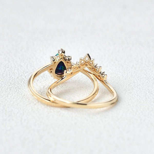 Pear Shaped Opal Tiara Beaded Ring Set - Back