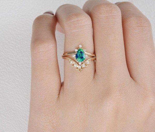 Pear Shaped Opal Tiara Beaded Ring Set - Finger