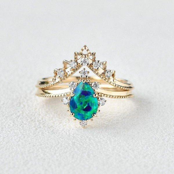 Pear Shaped Opal Tiara Beaded Ring Set - Front