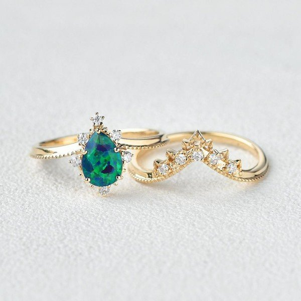 Pear Shaped Opal Tiara Beaded Ring Set - Front - Separate