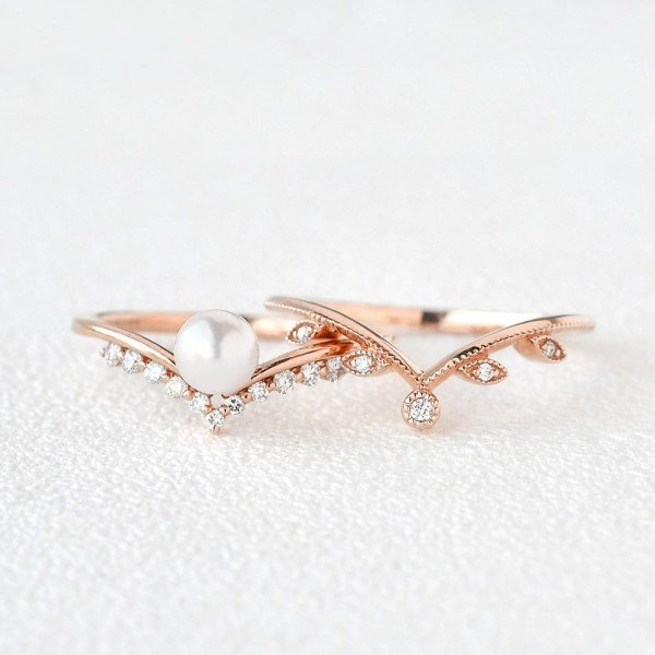 Round Pearl Vintage Leaf Ring Set - Front - Separate