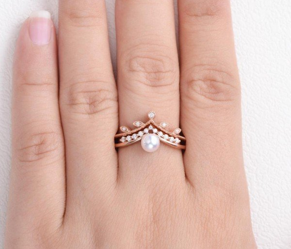 Round Pearl Vintage Leaf Ring Set - Finger