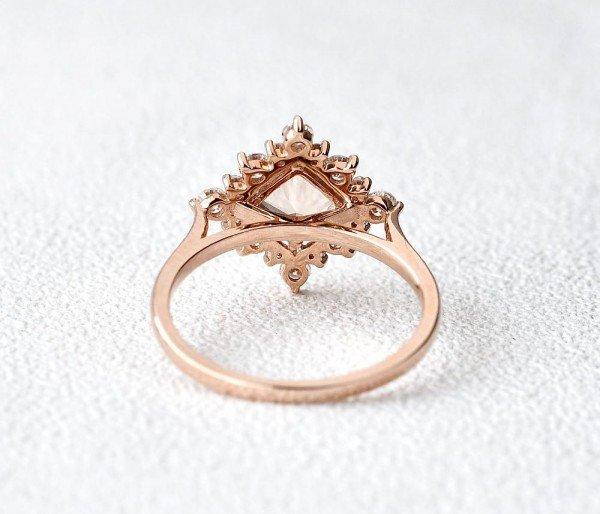 Princess Cut Pink Morganite Heartbeat Halo Ring - Back