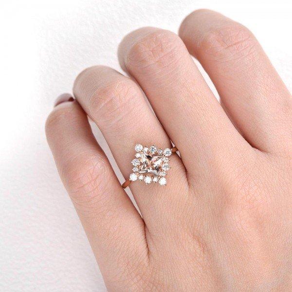 Princess Cut Pink Morganite Heartbeat Halo Ring - Finger