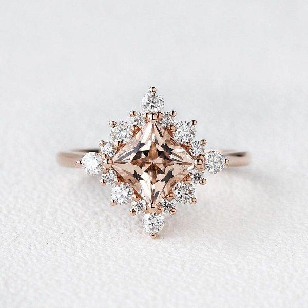 Princess Cut Pink Morganite Heartbeat Halo Ring - Front