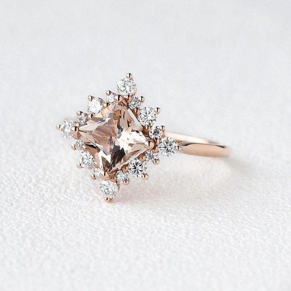 Princess Cut Pink Morganite Heartbeat Halo Ring - Side