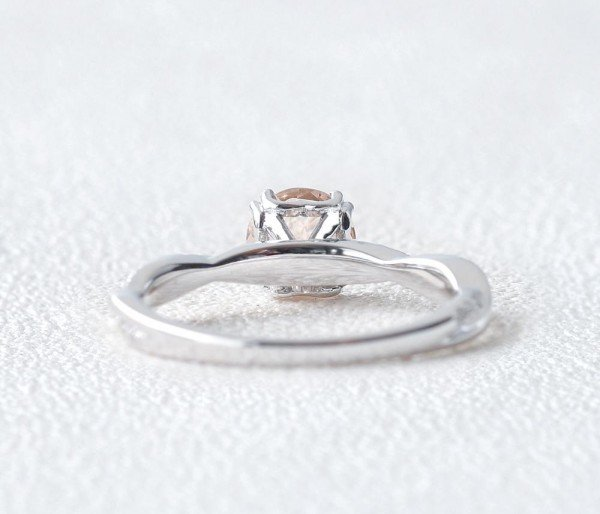 Round Pink Morganite Double Prong Twist Ring - Back